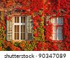 Colorful windows at autumn - stock photo
