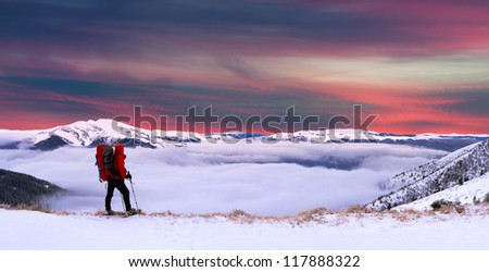 Colorful winter landscape in the Carpathian mountains. Sunset