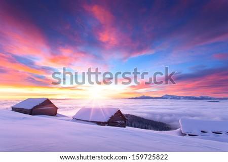 Colorful winter sunrise in the Carpathian mountains. Glade Pozharska, Carpathian, Ukraine, Europe.  - stock photo