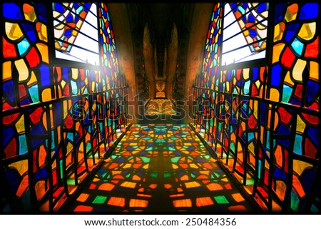 Colorful wndow glass reflection in Mussa Castle passage | Lebanon  - stock photo