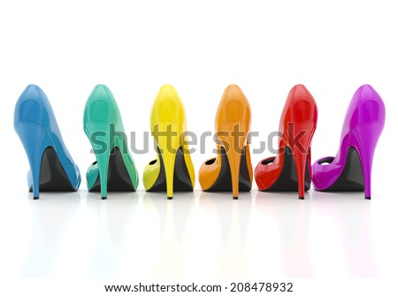 colorful women stiletto heel shoes isolated on white background