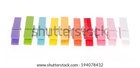 colorful wood clothes pin colors - stock photo