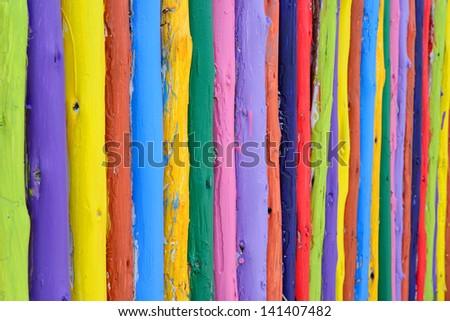 colorful wood fence background - stock photo