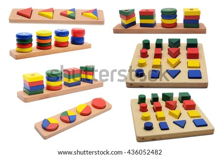 colorful wood toy, shape of colored wooden, Baby toy isolated white background, Many, mix