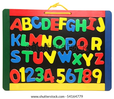 Colorful wooden alphabet letters and numbers on chalkboard - stock photo
