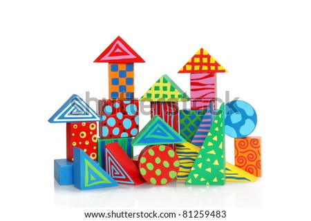 Colorful wooden block houses - stock photo