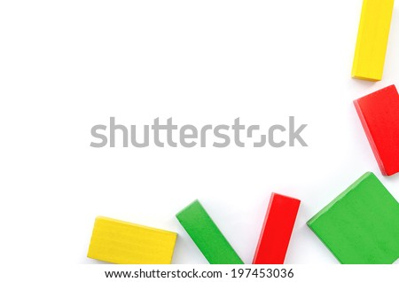 colorful wooden blocks isolated on white background.