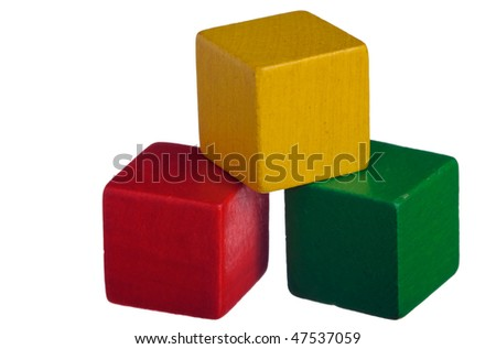 Colorful wooden children's building blocks isolated on white background - stock photo
