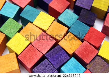 colorful wooden cubes - stock photo