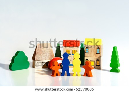 colorful wooden figures - brick toys - stock photo