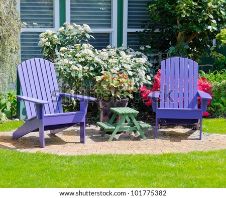 Colorful Wooden Lawn Chairs At The Front ( Back ) ...