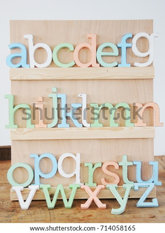 colorful wooden letters alphabet kids room stock photo edit now rh shutterstock com Name Letter for Room Rooms for Letters On Wall