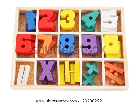 Colorful wooden numbers in box isolated on white background. - stock photo