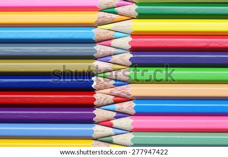 Colorful wooden pencils art composition zigzag - stock photo