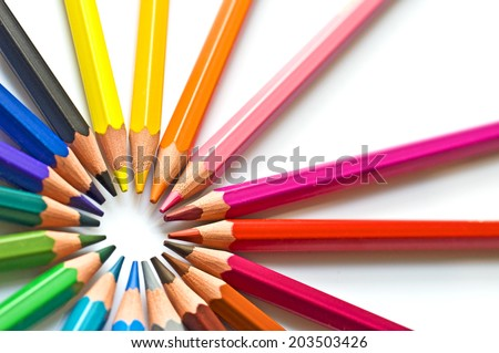 Colorful wooden pencils isolated on white background - stock photo