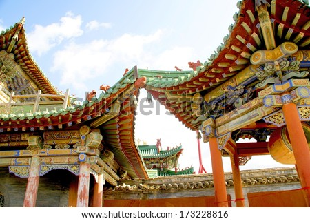 colorful  wooden roofs at the winterpalace in Ulaanbaatar, mongolia - stock photo