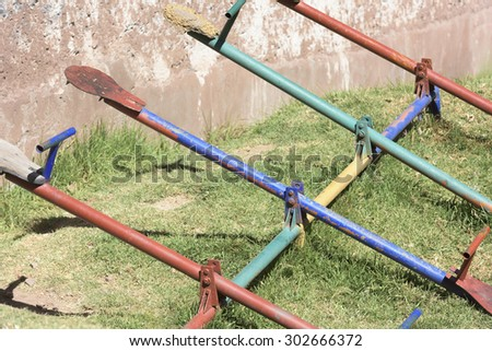 Colorful wooden See saw