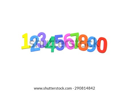 Colorful wooden set numbers on a white background.  Concept of back to school. Slightly defocused and close-up shot.