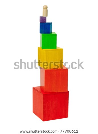 Colorful  wooden tower toy blocks children enjoy to build - stock photo