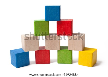 colorful wooden toy blocks isolated on white background - stock photo