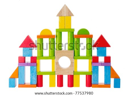 Colorful wooden toy castle isolated - stock photo