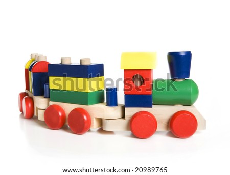colorful wooden train toy - stock photo