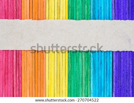 colorful wooden wall texture with Torn paper background empty for add text