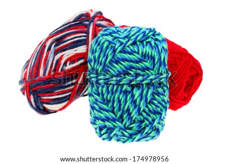 colorful wool yarn isolated on white background  - stock photo