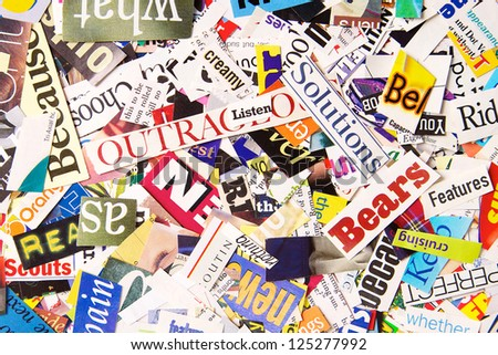 Colorful Word Background formed from Magazine Clippings - stock photo