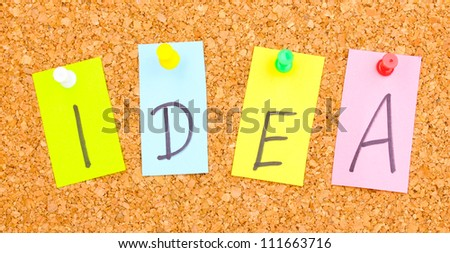 Colorful word hang on rope by wooden peg on corkwood - stock photo