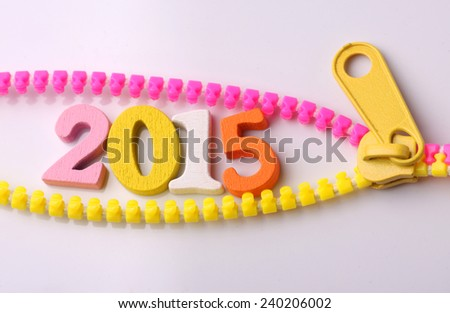 colorful word 2015  on zip - stock photo