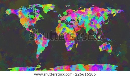 Colorful World Map Brushes Painting On Stock Illustration - Colorful world map painting