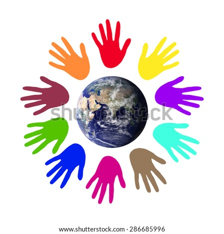 Colorful world peace.Environment concept. Elements of this image furnished by NASA. - stock photo