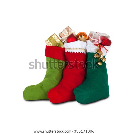 colorful xmas socks with presents. red, green, dark green color. design decoration element, isolated - stock photo