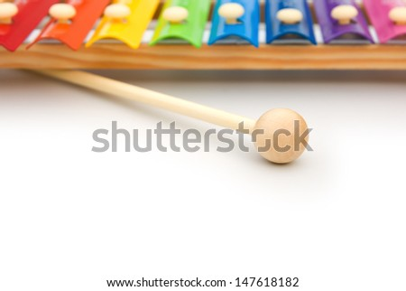 colorful xylophone on white with copy space - stock photo