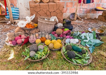 Colorful yarn balls in traditional baskets in Andes Mountains near Cusco, Peru - stock photo