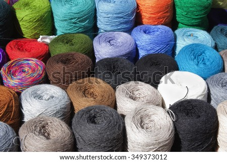 colorful yarn photo taken in South America - stock photo