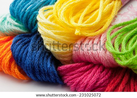 Colorful yarns for embroidering - stock photo