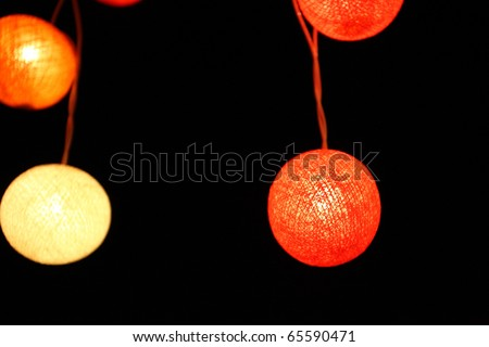 colorful yellow red green pink lantern with night scene - stock photo