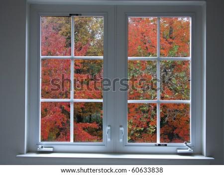 Colorfull autumn window - stock photo