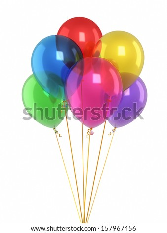 Colorfull balloons render (isolated on white and clipping path)  - stock photo