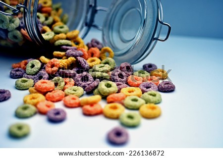 colorfull breakfast cereal - stock photo