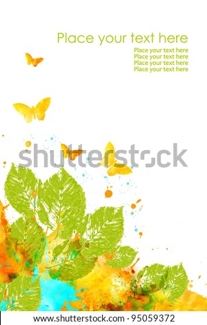 Colorfull design in watercolor technique: leaves, butterfly and splash of paint on white background. - stock photo
