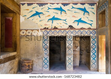 Colorfull frescoes at the well-preserved fountain building at the ancient site of Knossos at Crete - witness of the old minoan culture. - stock photo