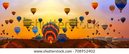 colorfull hot air balloons festival floating  panorama landscape