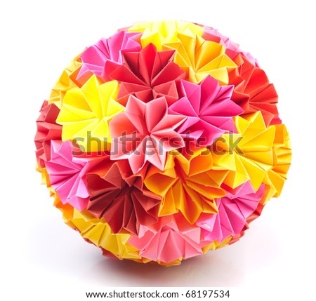 Colorfull origami kusudama from rainbow flowers isolated on white