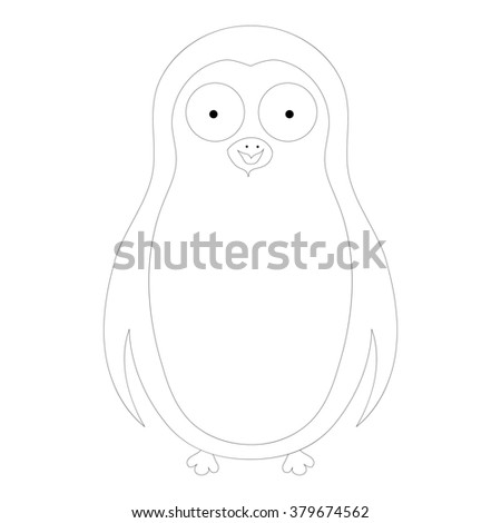 coloring abstract cute pinguin on a white background - stock photo