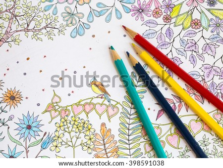 Coloring Book Antistress Colored Pencils Stock Photo 398591038 ...