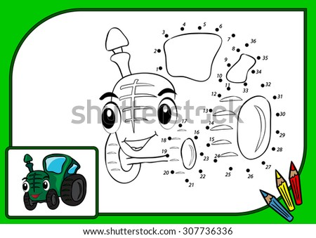 Coloring book dot to dot. Illustration of funny tractor