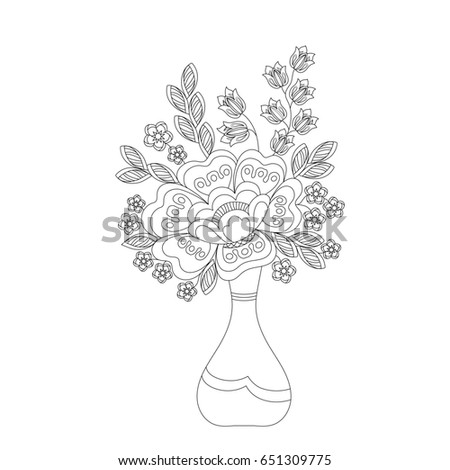 Coloring Book For Adults And Children Bouquet Of Fantasy Flowers In Vase Black